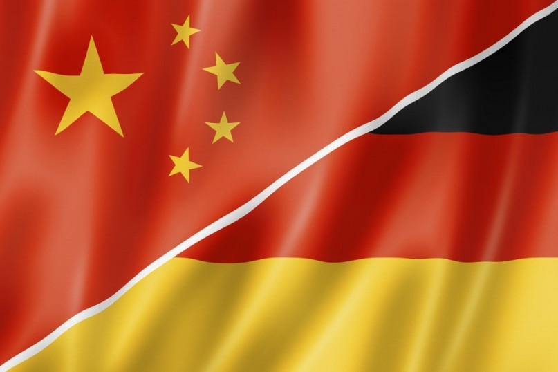 Mixed China and Germany flag, three dimensional render, illustration